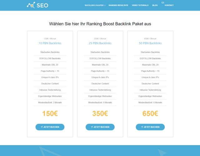 Backlinks kaufen Preistabelle
