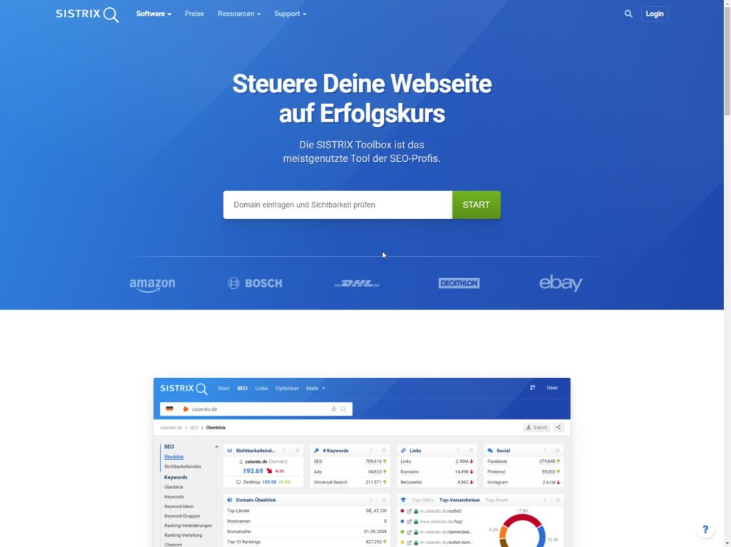 sistrix seo software